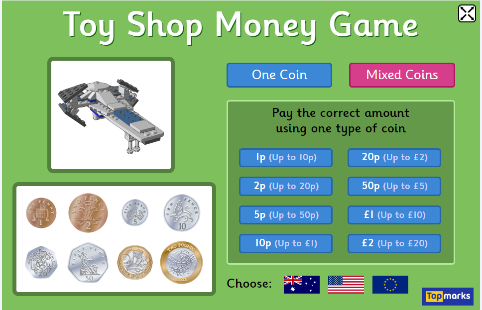 Toy Shop Money Game